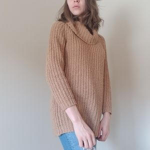 Tan knit turtleneck sweater